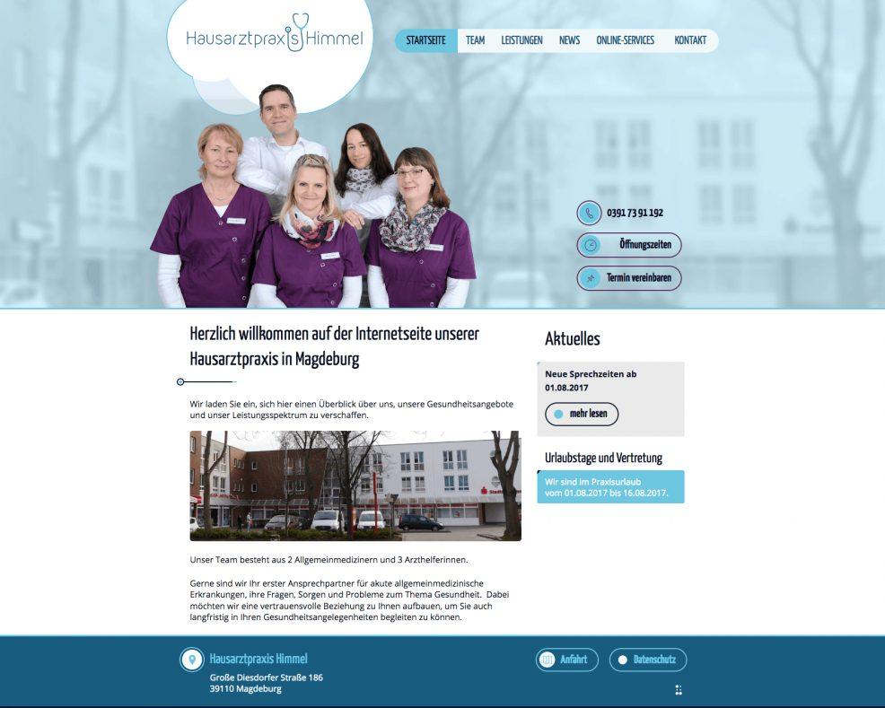 Webdesign + Programmierung für  Hausarztpraxis Himmel
