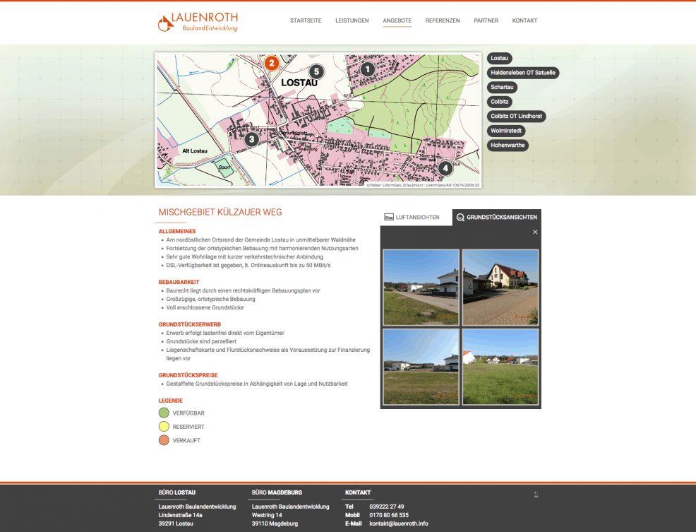 Webdesign + Programmierung für  Lauenroth Baulandentwicklung