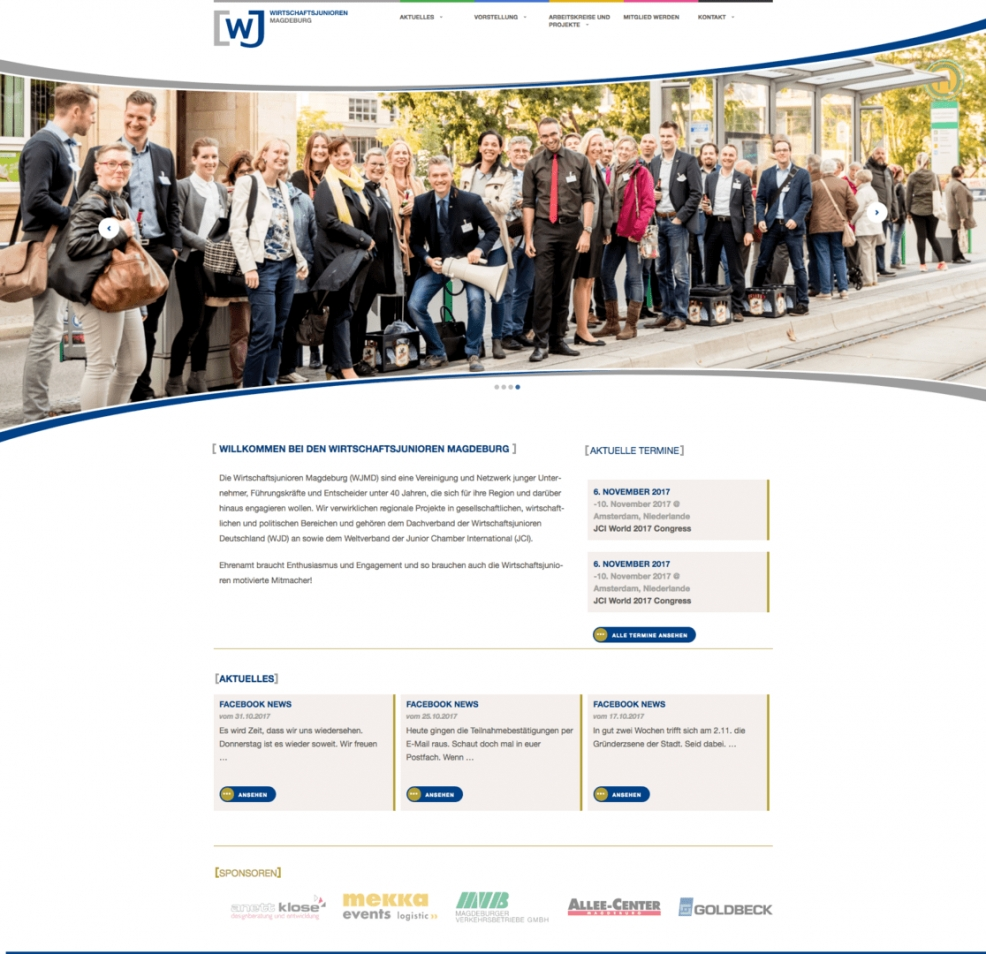 Webdesign + Programmierung für  Wirtschaftsjunioren Magdeburg