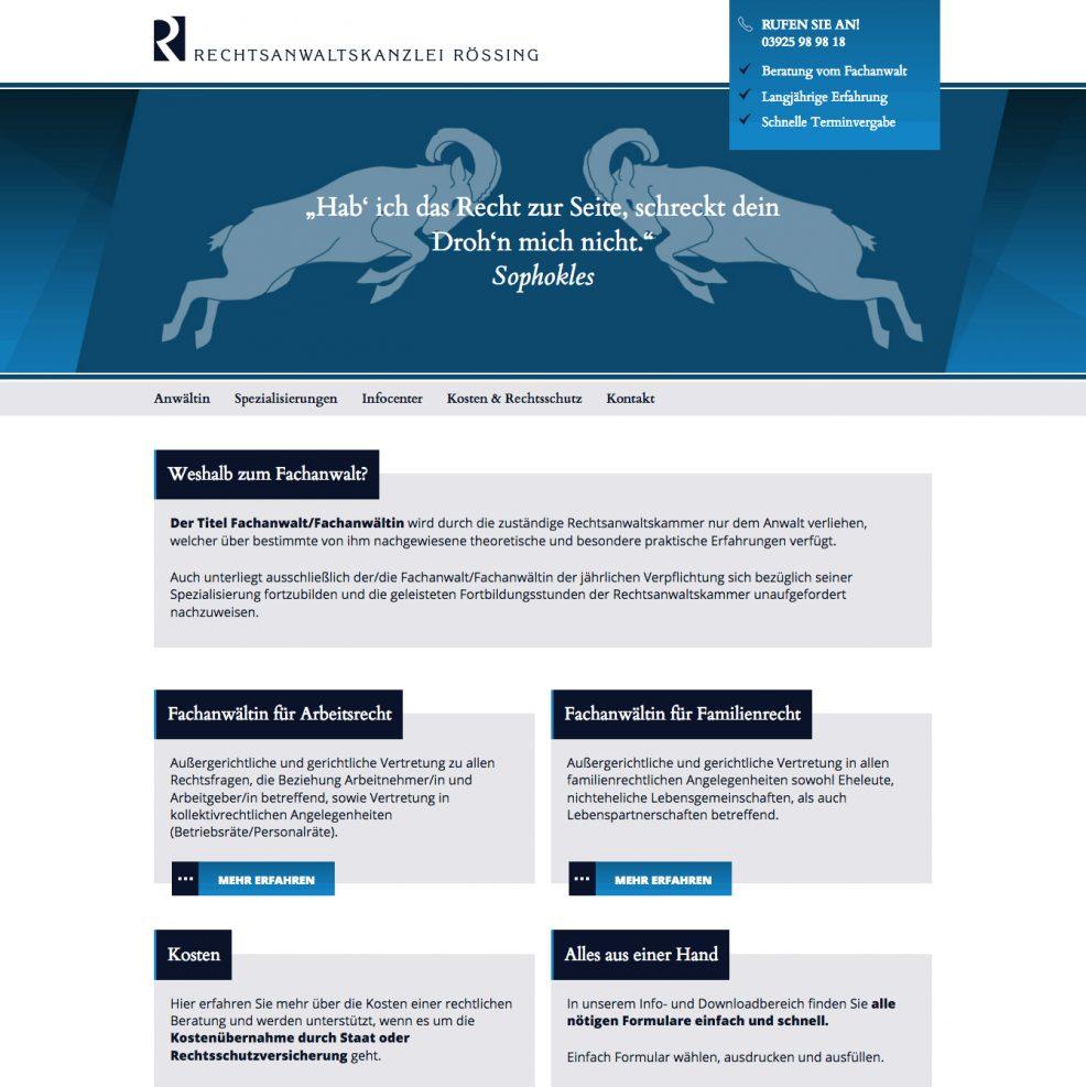Webdesign + Programmierung für  Rechtsanwaltskanzlei Rössing