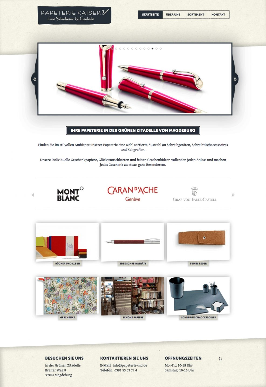 Webdesign + Programmierung für  PAPETERIE – Feine Schreibwaren & Geschenke