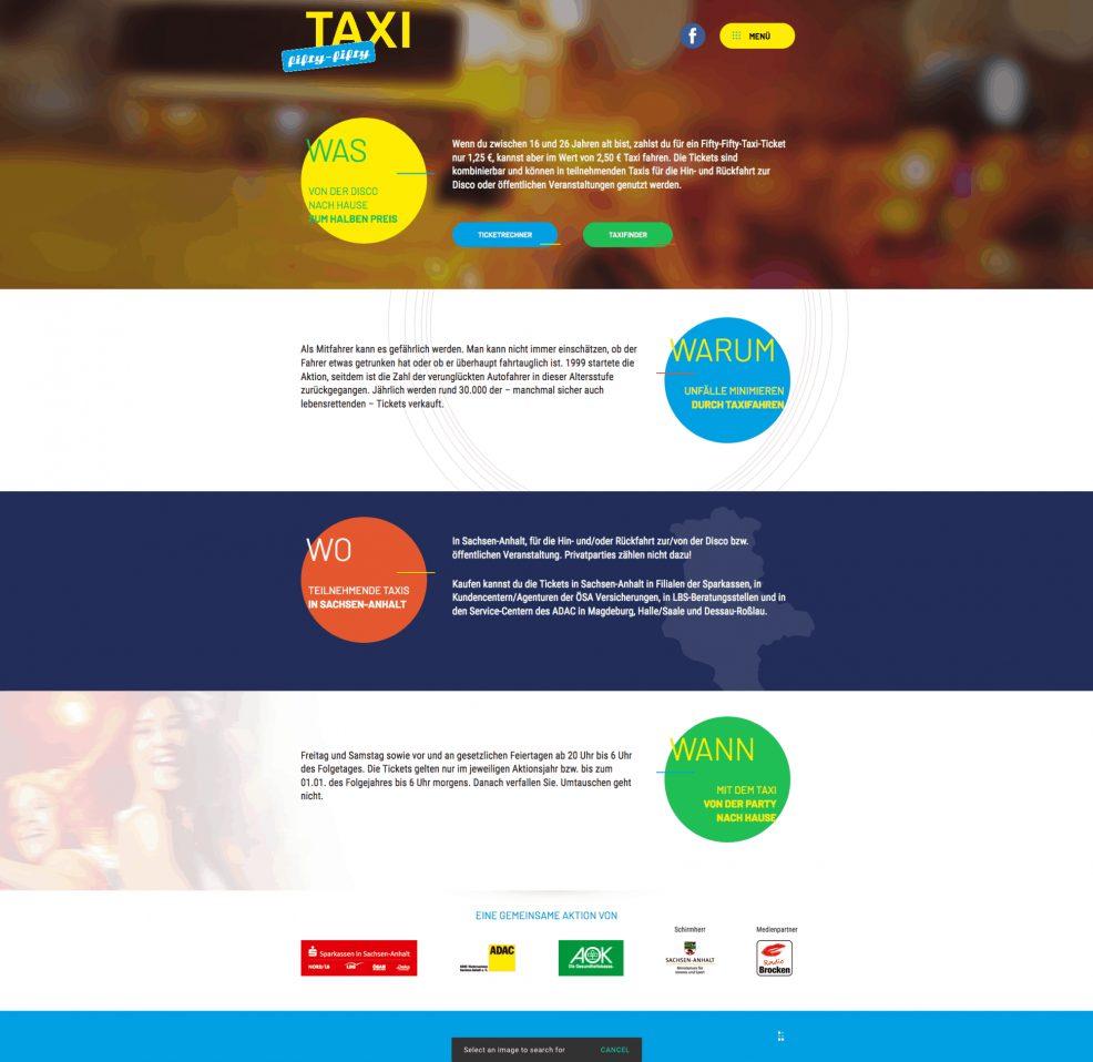 Webdesign + Programmierung für  fifty-fifty-Taxi in Sachsen-Anhalt