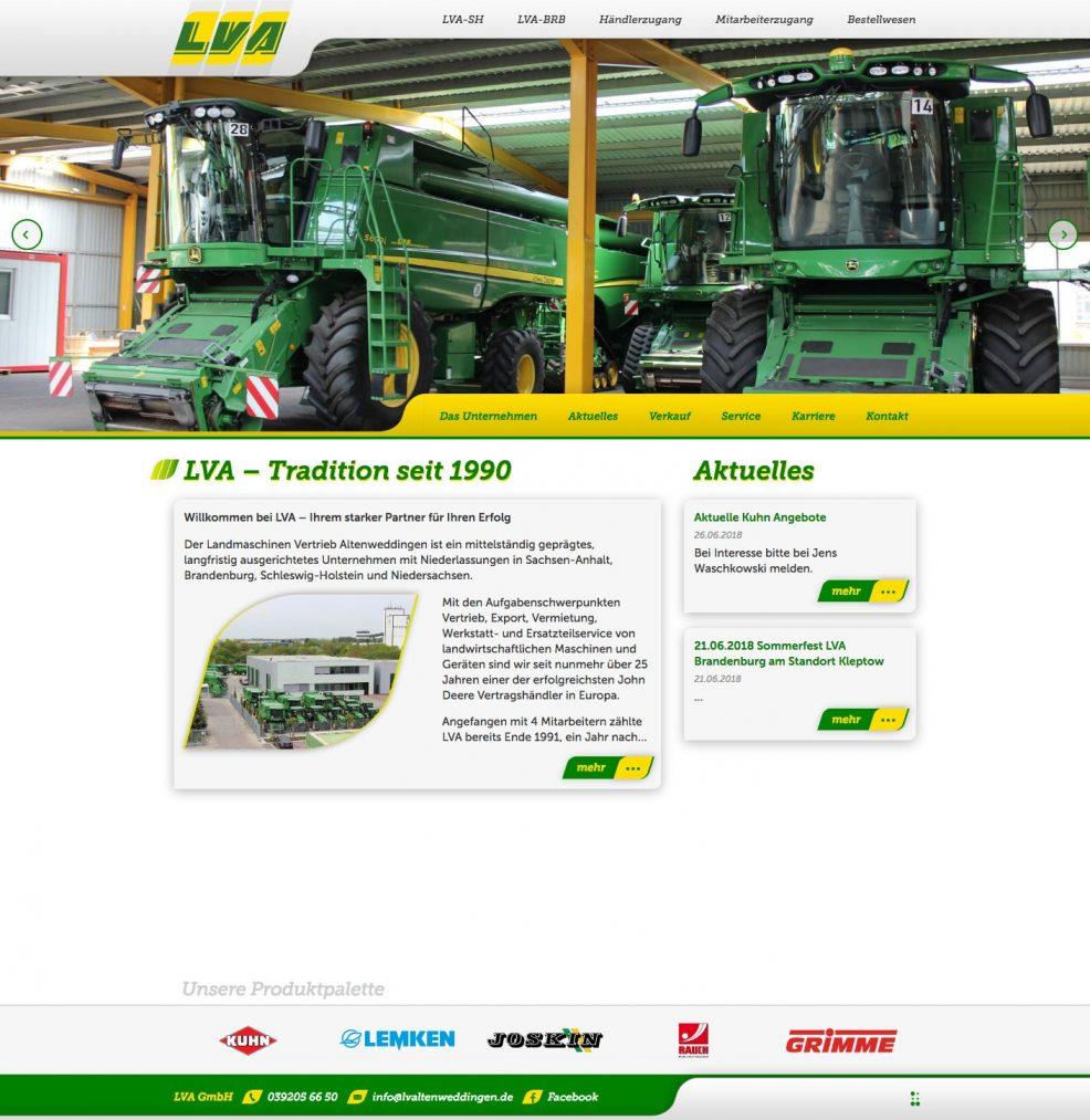Webdesign und Programmierung für  Landmaschinen Vertrieb Altenweddingen GmbH