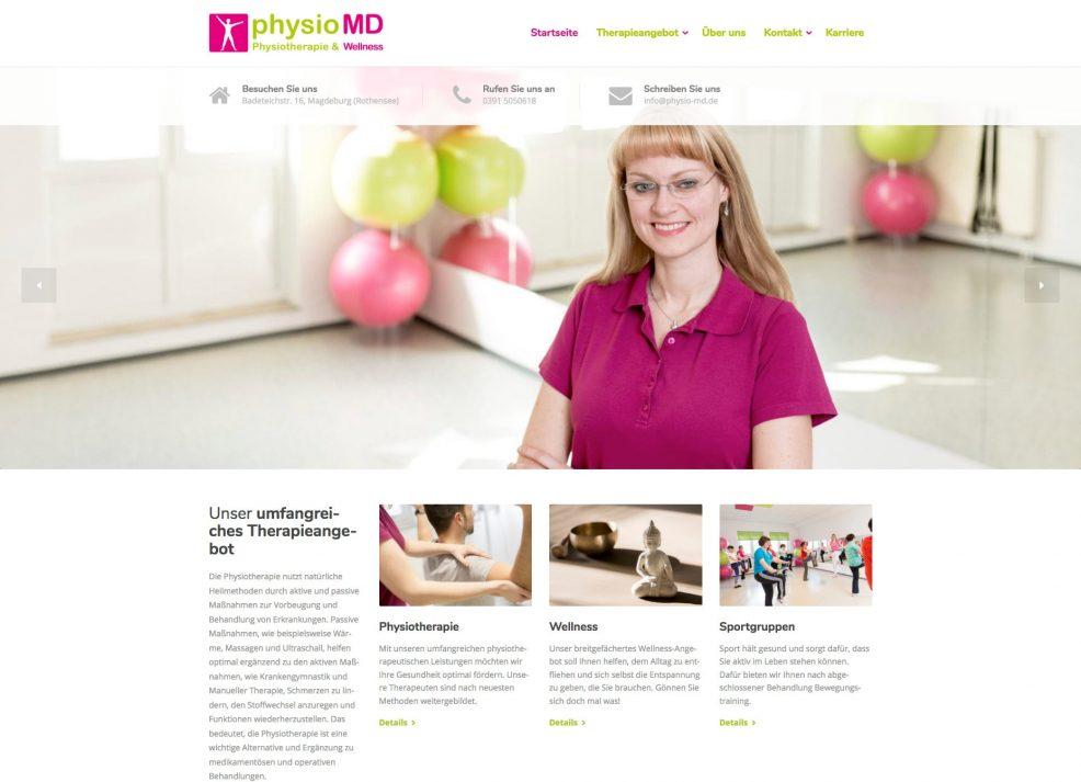Webdesign und Programmierung für  physioMD Physiotherapie & Wellness