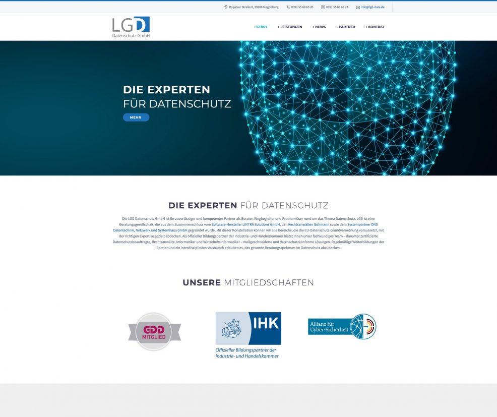 Webdesign und Programmierung für  LGD Datenschutz GmbH