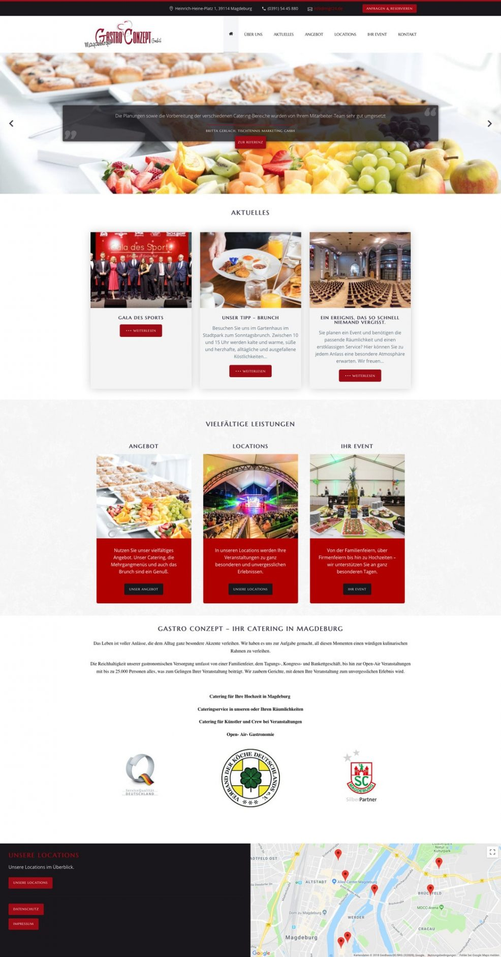 Website für  Magdeburger Gastro Conzept GmbH
