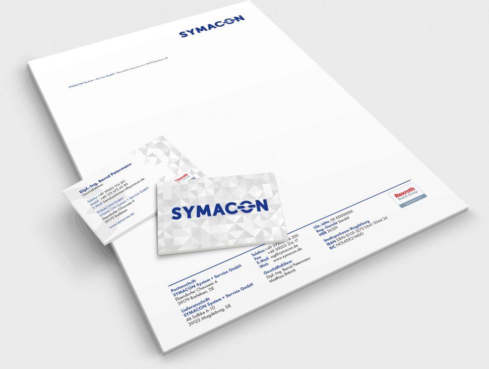 Briefbogen + Visitenkarten für  SYMACON GmbH