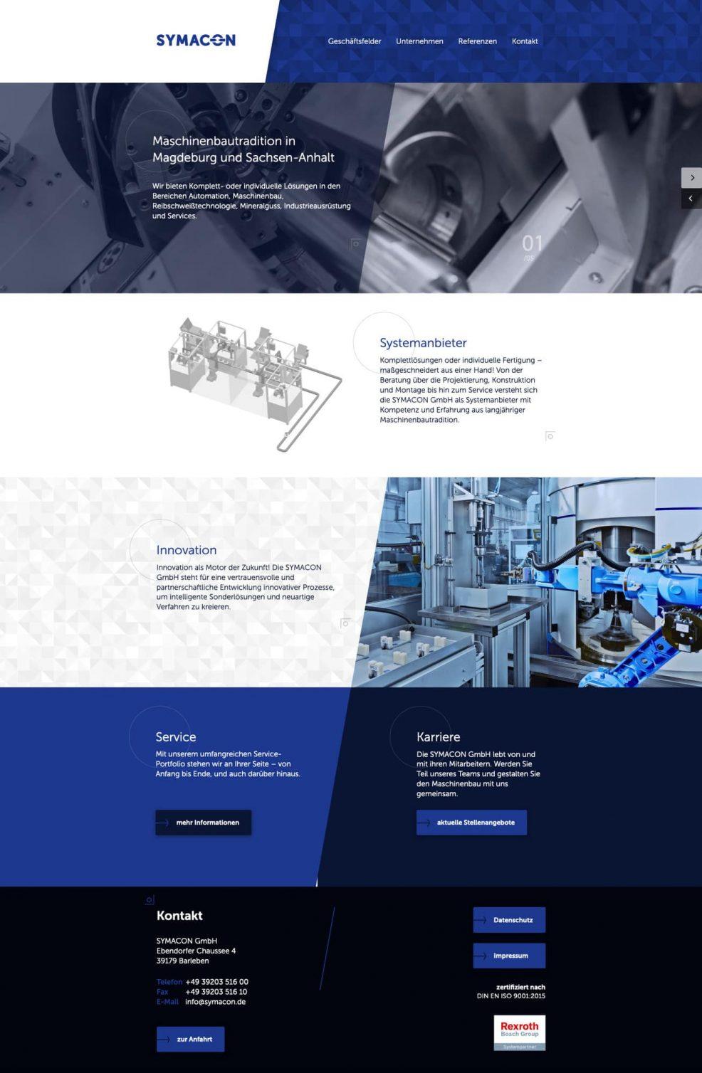 Webdesign und Programmierung für  SYMACON GmbH