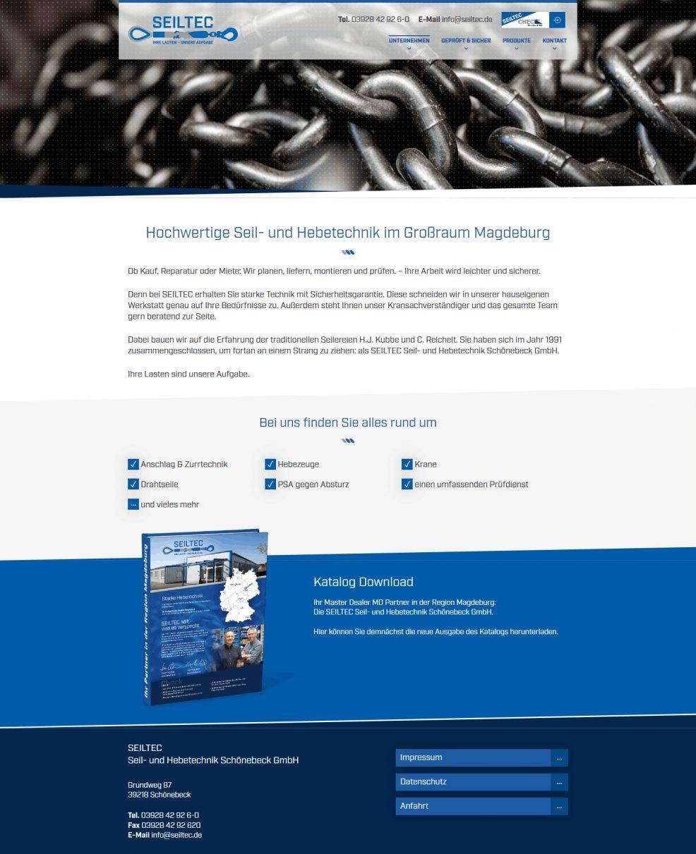 Webdesign und Programmierung für  SEILTEC Seil- und Hebetechnik Schönebeck GmbH