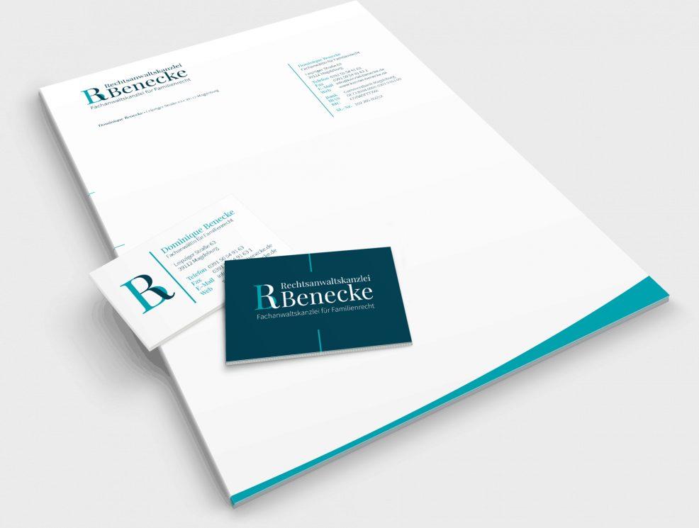 Briefbogen und Visitenkarten für  Rechtsanwaltskanzlei Benecke