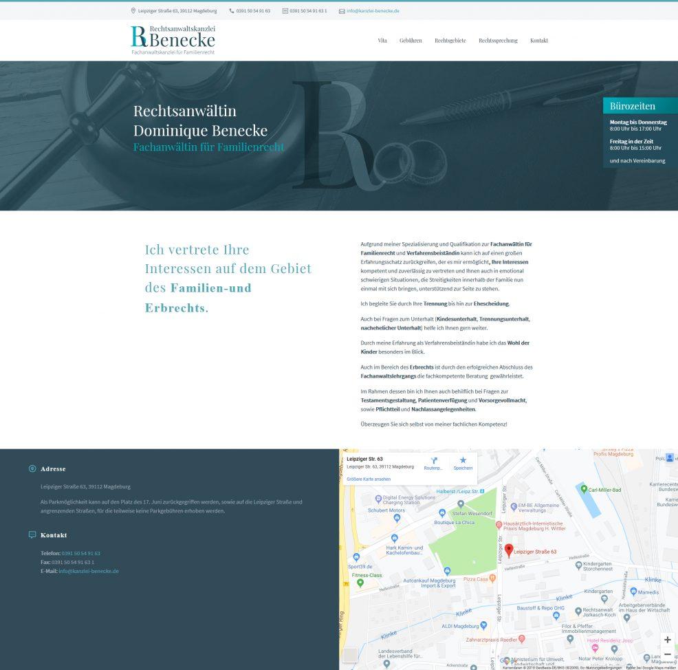 Webdesign und Programmierung für  Rechtsanwaltskanzlei Benecke