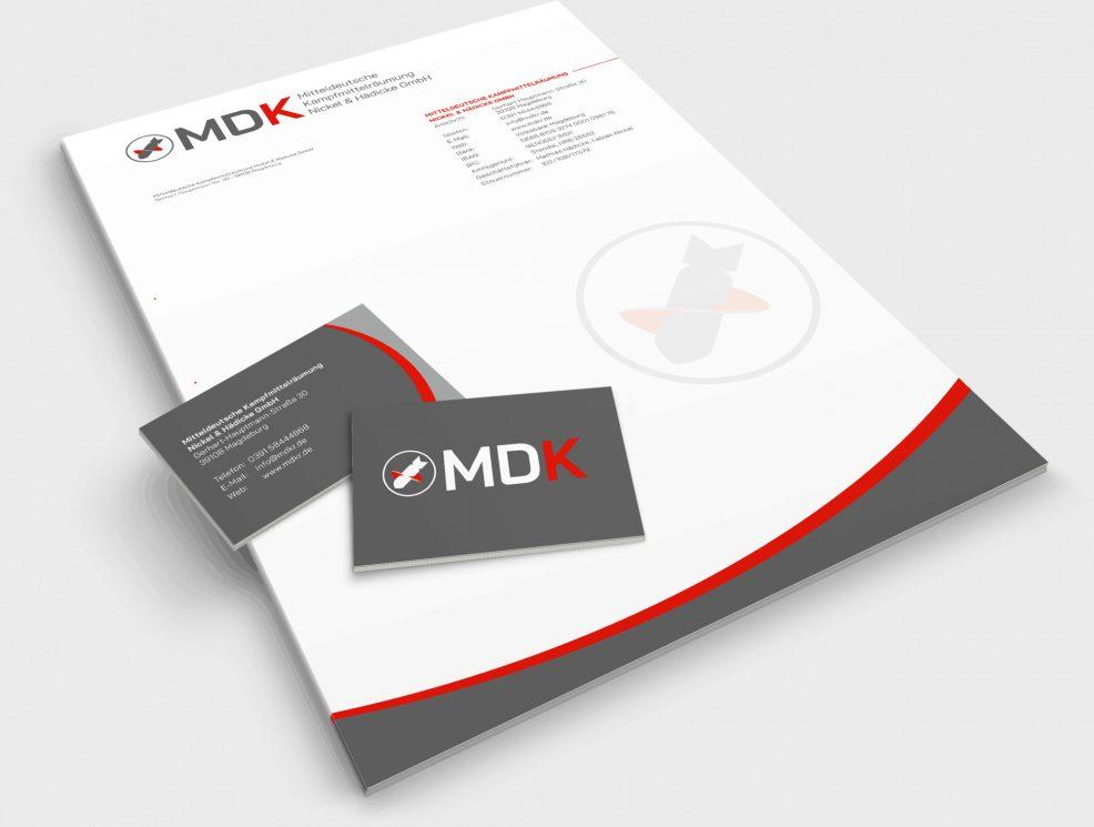 Briefbogen + Visitenkarten für  MDK Mitteldeutsche Kampfmittelräumung Nickel & Hädicke GmbH