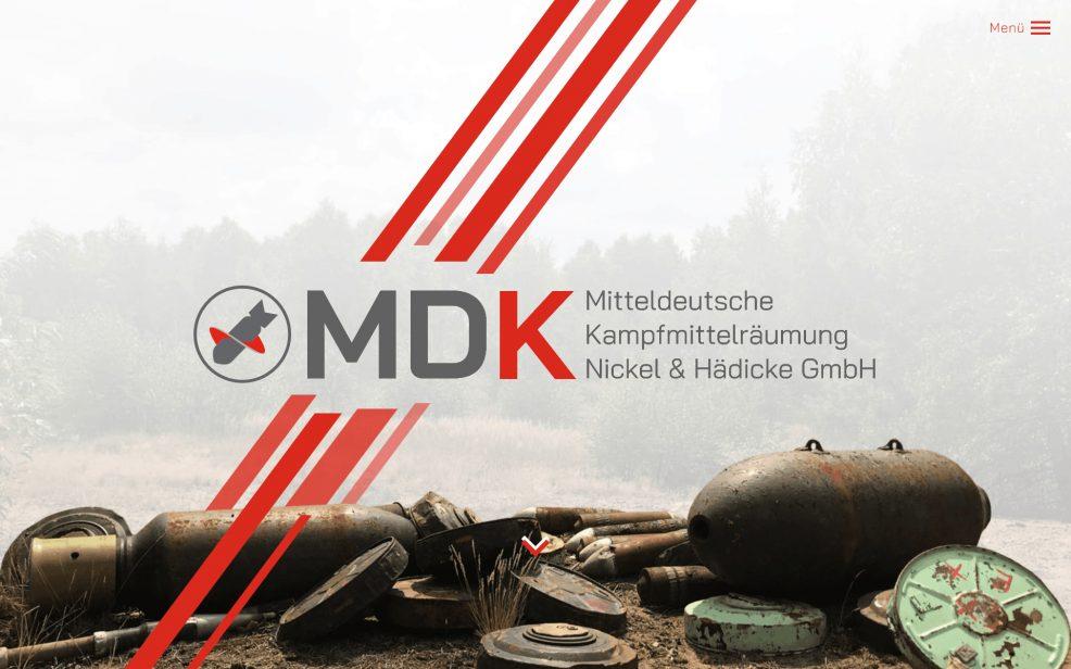 Webdesign und Programmierung für  MDK Mitteldeutsche Kampfmittelräumung Nickel & Hädicke GmbH
