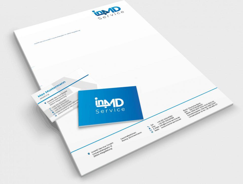 Briefbogen und Visitenkarten für  in4MD Service GmbH