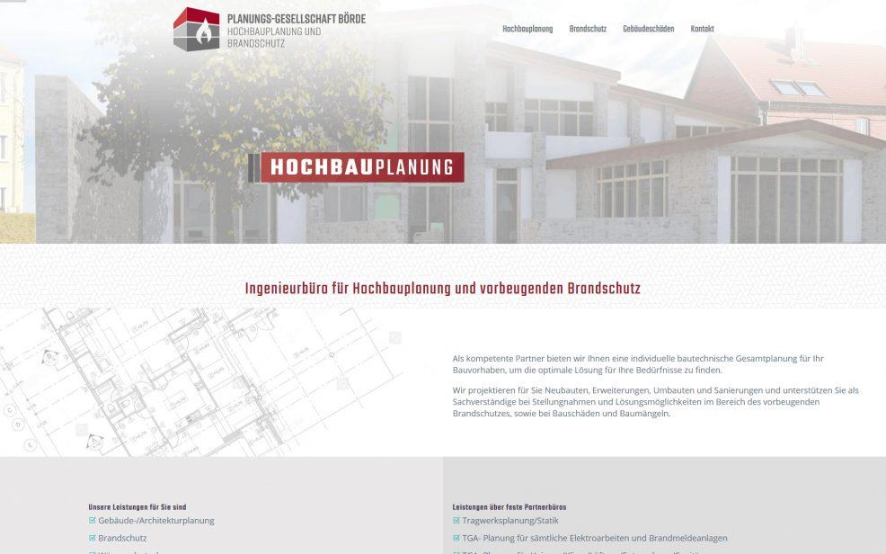 Webdesign und Programmierung für  Planungs-Gesellschaft Börde GmbH