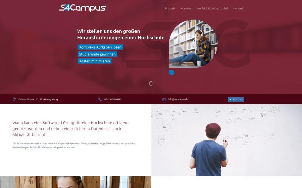 Webdesign und Programmierung für  S4Campus GmbH