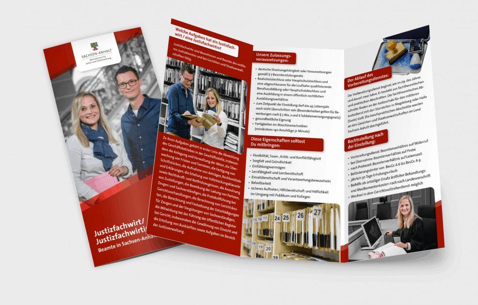 Flyer für  Ministerium für Justiz und Gleichstellung des Landes Sachsen-Anhalt