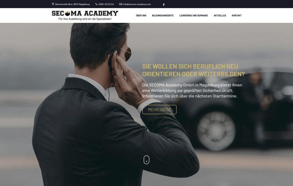 Webdesign und Programmierung für  SECOMA Academy GmbH