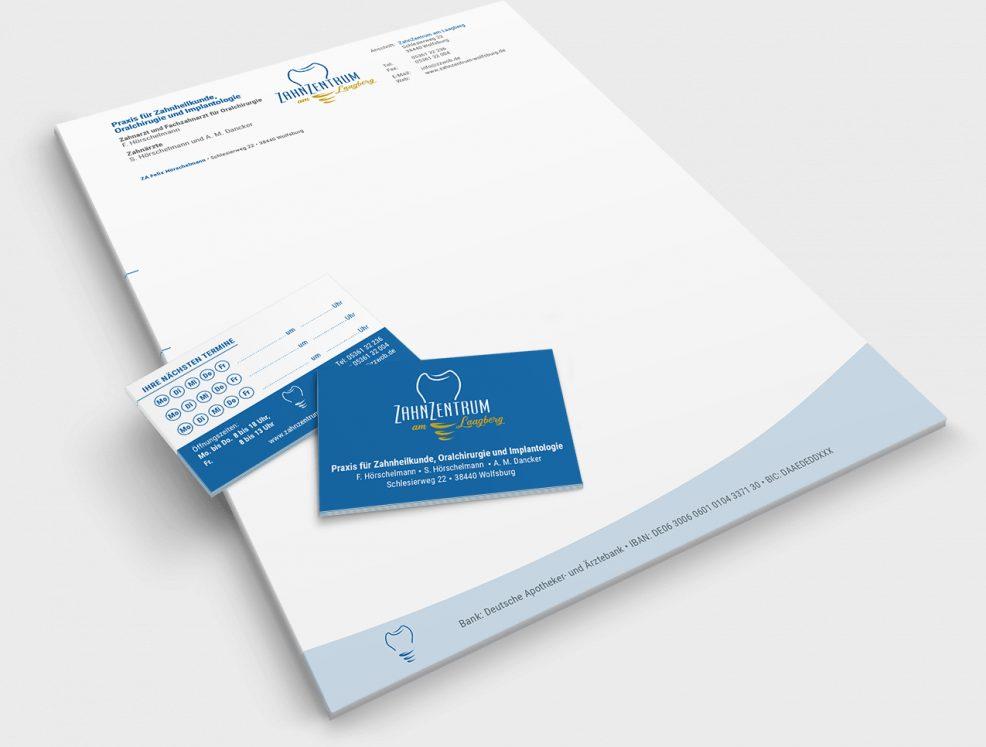 Briefbogen und Terminkarten für  Zahnzentrum am Laagberg