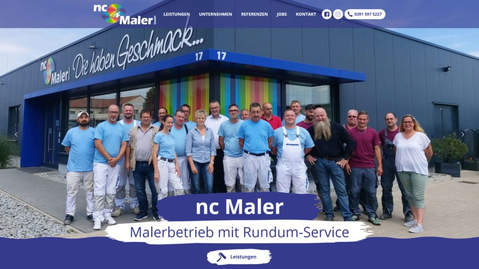 Webdesign und Programmierung für  nc Maler GmbH