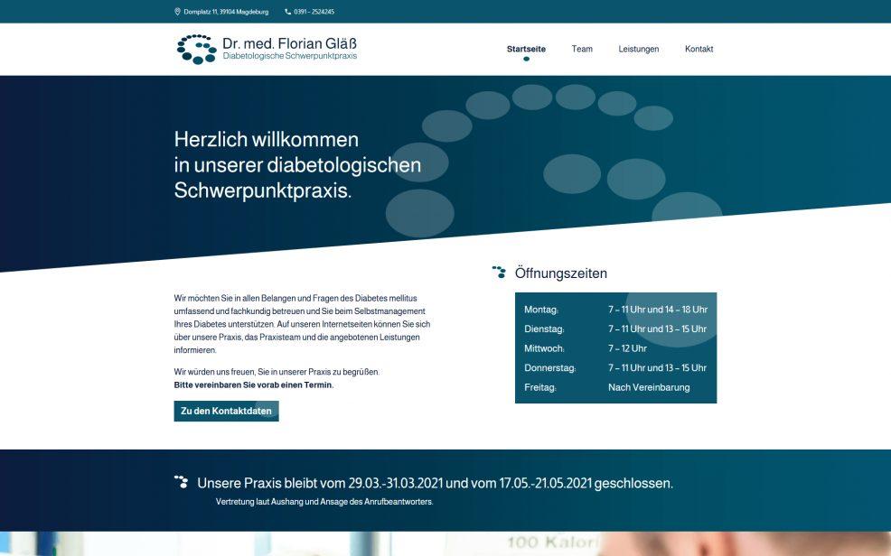 Webdesign und Programmierung für  Dr. med. Florian Gläß – Diabetologische Schwerpunktpraxis
