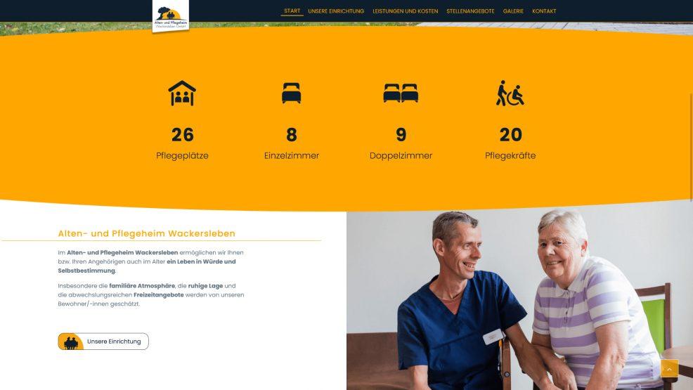 Webdesign und Programmierung für  Alten- und Pflegeheim Wackersleben GmbH