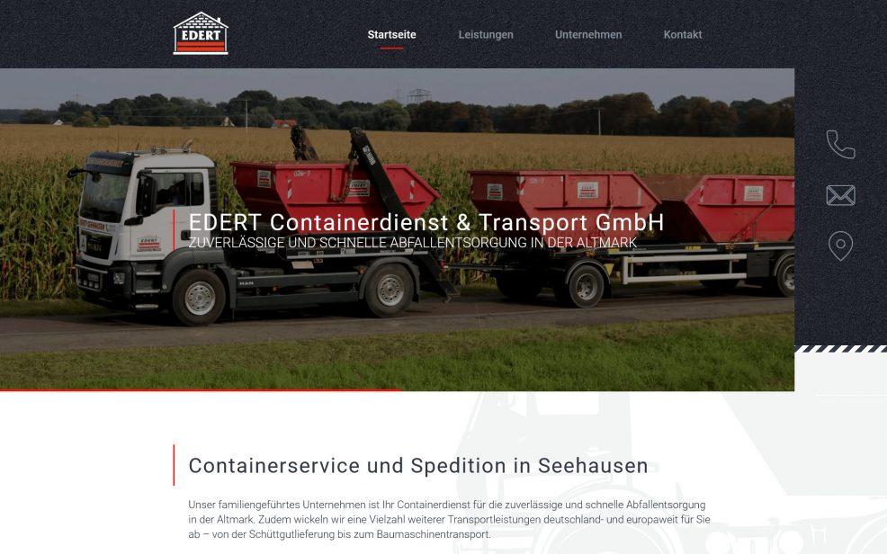Webdesign und Programmierung für  Edert Containerdienst und Transport GmbH
