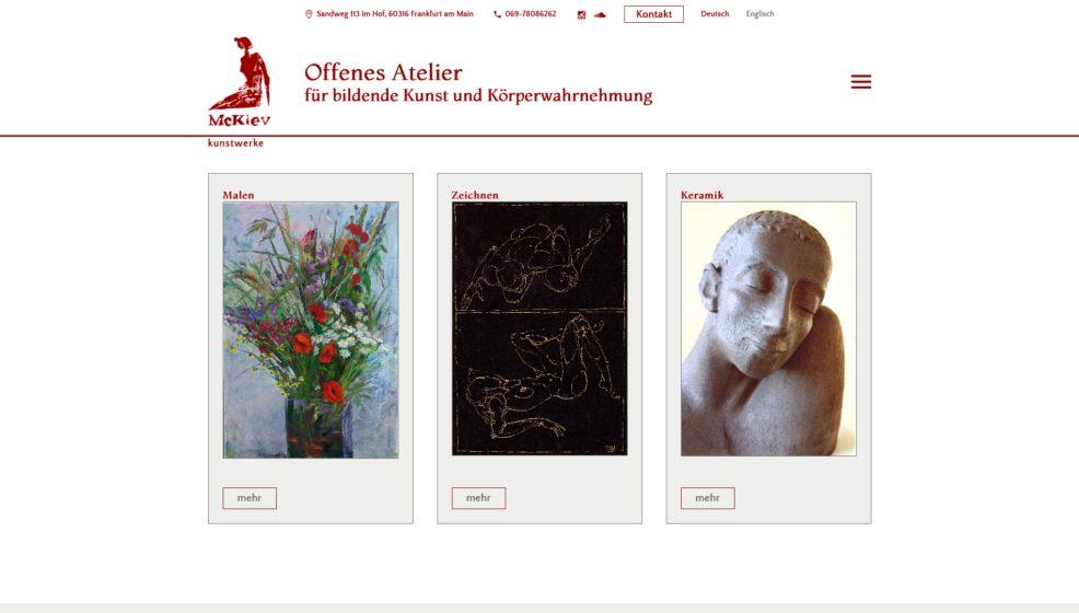 Webdesign und Programmierung für  McKiev   offenes Atelier für bildende Kunst und Körperwahrnehmung GbR