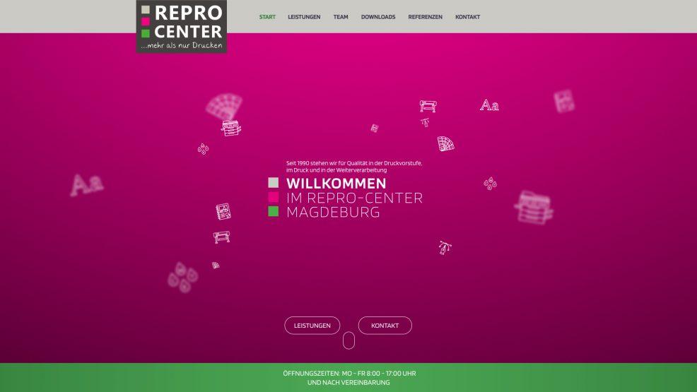 Webdesign + Programmierung für  Repro-Center GmbH