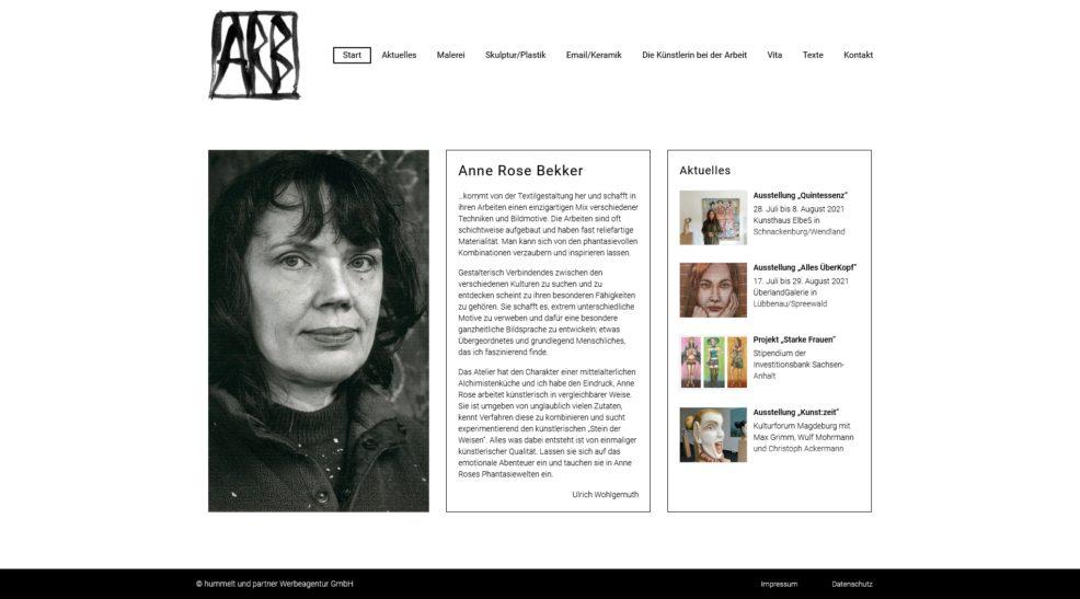 Webdesign und Programmierung für  Anne Rose Bekker